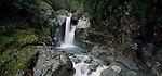Upper Bowen waterfall in Milford Sound. Fiordland National Park New Zealand.