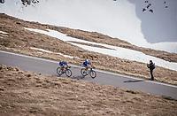 Ariel Maximiliano Richeze (ARG/Quick-Step Floors) & Iljo Keisse (BEL/QuickStep Floors) are the (almost) last riders to descend the Passo dello Stelvio (alt: 2758m)<br /> <br /> Stage 16: Rovett › Bormio (222km)<br /> 100th Giro d'Italia 2017
