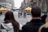 National Guard members provide security near the site of the bombings in Boston, Mass., on April 16, 2013, the day after bombings at the Boston Marathon.