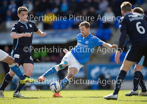 St Johnstone v Dundee....11.04.15   SPFL<br /> Steven MacLean's shot is blocked<br /> Picture by Graeme Hart.<br /> Copyright Perthshire Picture Agency<br /> Tel: 01738 623350  Mobile: 07990 594431
