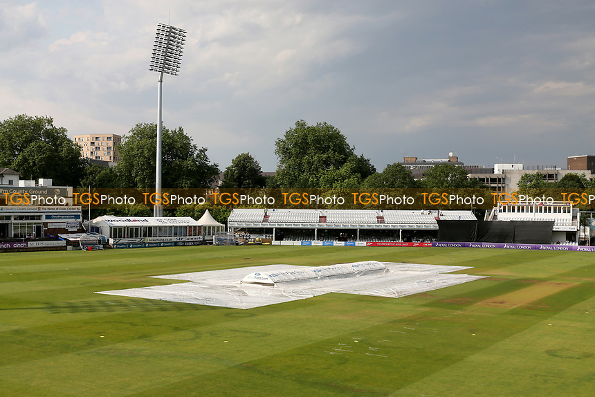 General view of the ground with the covers in place after a thunderstorm during Essex Eagles vs Cambridgeshire CCC, Domestic One-Day Cricket Match at The Cloudfm County Ground on 20th July 2021