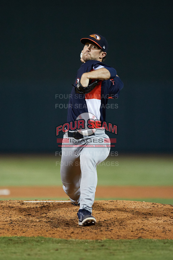 Bowling Green Hot Rods relief pitcher Alan Strong (19) in action against the Winston-Salem Dash at Truist Stadium on September 7, 2021 in Winston-Salem, North Carolina. (Brian Westerholt/Four Seam Images)