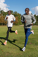 Eliud Kipchoge (KEN) (grey top) trains alongside his pacemaker Jonathan Korir (KEN) within the grounds of the official hotel [location not disclosed] and biosecure bubble for the historic elite-only 2020 Virgin Money London Marathon on Sunday 4 October. The 40th Race will take place on a closed-loop circuit around St James's Park in central London. Tuesday 29th September 2020. Photo: Bob Martin for London Marathon Events<br /> <br /> For further information: media@londonmarathonevents.co.uk
