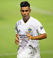 CARSON, CA - OCTOBER 07: Efrain Alvarez #26 of the Los Angeles Galaxy marches over to the corner for a kick during a game between Portland Timbers and Los Angeles Galaxy at Dignity Heath Sports Park on October 07, 2020 in Carson, California.