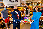 """Mary Lucey and Garvey's Supervalu launching their """"Making a meal of it"""" competition aimed at college students on Monday. Front right: Mary Lucey and Kevin McCarthy (Managing Director Garveys). Back l to r: Chef Chad Byrne and Sandra Lynch (Store Manager Garveys Supervalu Tralee)."""
