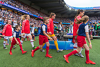 PARIS,  - JUNE 28: Sam Mewis #3, Alyssa Naeher #1 and Alex Morgan #13 enter the field during a game between France and USWNT at Parc des Princes on June 28, 2019 in Paris, France.