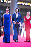 Luis Garcia (necktie) and his wife Katerine (blue dress), Xavier Asensi Brufau (purple handkerchief), and Jenny Yang (red dress) walk the Red Carpet event at the World Celebrity Pro-Am 2016 Mission Hills China Golf Tournament on 20 October 2016, in Haikou, China. Photo by Victor Fraile / Power Sport Images