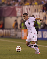 USA forward Herculez Gomez (9) traps the ball. Brazil  defeated the US men's national team, 2-0, in a friendly at Meadowlands Stadium on August 10, 2010.