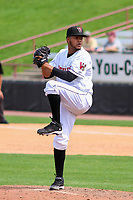 Wisconsin Timber Rattlers pitcher Rodrigo Benoit (35) on the mound during a Midwest League game against the Lansing Lugnuts on May 8, 2018 at Fox Cities Stadium in Appleton, Wisconsin. Lansing defeated Wisconsin 11-4. (Brad Krause/Four Seam Images)
