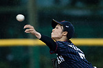 #17 Tanaka Shiori of Japan serves during the BFA Women's Baseball Asian Cup match between Pakistan and Japan at Sai Tso Wan Recreation Ground on September 4, 2017 in Hong Kong. Photo by Marcio Rodrigo Machado / Power Sport Images