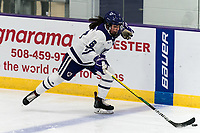 WORCESTER, MA - JANUARY 16: Katie MacCuaig #6 of Holy Cross brings the puck forward during a game between Boston College and Holy Cross at Hart Center Rink on January 16, 2021 in Worcester, Massachusetts.