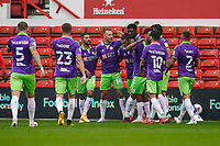 3rd October 2020; City Ground, Nottinghamshire, Midlands, England; English Football League Championship Football, Nottingham Forest versus Bristol City; Andreas Weimann of Bristol City celebrates his goal for 1-0 in the 13th minute