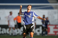 18 June 2005:   Eddie Robinson of Earthquakes celebrates after Wade Barrett's goal against Real Salt Lake during the first half of the game at Spartan Stadium in San Jose, California. Earthquakes leads Real Salt Lake, 3-0 at halftime.    Mandatory Credit: Michael Pimentel / ISI