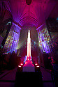 10/08/19<br /> <br /> Lichfield Cathedral is transformed with a spectacular light and sound installations as it launches 'The Great Exhibition 2019'. This year's theme is 'Space, God, the Universe and Everything!' <br /> <br /> A 36m moon floor 'One Small Step' covers the entire nave floor of the cathedral. The length of Lichfield Cathedral is almost the same length as the Saturn V Apollo launch rocket at approximately 370 feet.  <br /> <br /> During the evening show visitors take a walking journey through areas of the cathedral that are transformed by the award winning artistic collaboration 'Luxmuralis' with art, exhibits, sound and light projections depicting the Apollo mission and human exploration for the 50th anniversary year of the moon landing.  <br /> <br /> Visitors will see the original moon landing film in a recreation of a 1960's living room; get taken to mars; see the Big Bang and the Creation story; contemplate personal journeys of exploration and wonder; help draw the largest universe; see a 4.5metre high rocket and experience a spectacular light and sound show that takes you to the edge of the universe and back all within the majestic 800 year old architecture. <br /> <br /> All Rights Reserved: F Stop Press Ltd. +44(0)1335 418365   +44 (0)7765 242650 www.fstoppress.com