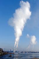 Naturschutzgebiet Holzhafen mit Blick auf Industrie: EUROPA, DEUTSCHLAND, HAMBURG 15.03.2013: Naturschutzgebiet Holzhafen mit Blick auf Industrie, Qualm des Heizkraftwerks Tiefstack und der Müllverbrennungsanlagen Hamburgs Borsigstrasse