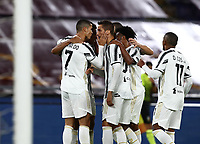 Football, Serie A: AS Roma - Juventus, Olympic stadium, Rome, September 27, 2020. <br /> Juventus' Cristiano Ronaldo (l) celebrates after scoring his second goal in the match with his teammates during the Italian Serie A football match between Roma and Juventus at Olympic stadium in Rome, on September 27, 2020. <br /> UPDATE IMAGES PRESS/Isabella Bonotto