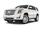 Stock pictures of low aggressive front three quarter view of 2017 Cadillac Escalade Platinum 5 Door SUV Low Aggressive