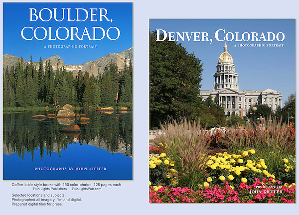 Collaborating with a respected publisher to photograph these two books was a wonderful experience.<br /> I've photographed Boulder, Denver and just about all of Colorado's natural places. Photography instruction by John Kieffer.