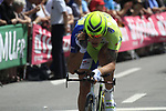 Daniel Oss (ITA) Liquigas-Cannondale adjusts his helmet during the Prologue of the 99th edition of the Tour de France 2012, a 6.4km individual time trial starting in Parc d'Avroy, Liege, Belgium. 30th June 2012.<br /> (Photo by Eoin Clarke/NEWSFILE)