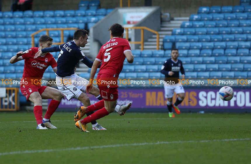 Jed Wallace of Millwall shot goes wide during Millwall vs Nottingham Forest, Sky Bet EFL Championship Football at The Den on 19th December 2020