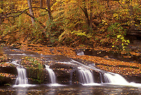 waterfall, fall, North Bennington, VT, Vermont, A small waterfall flows down Paran Creek in North Bennington in autumn.