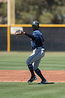 Seattle Mariners shortstop Luis Joseph (28) prepares to make a throw to first base during an Extended Spring Training game against the San Francisco Giants Orange at the San Francisco Giants Training Complex on May 28, 2018 in Scottsdale, Arizona. (Zachary Lucy/Four Seam Images)