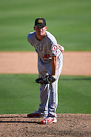 Mesa Solar Sox pitcher Harrison Cooney (48) delivers a pitch during an Arizona Fall League game against the Glendale Desert Dogs on October 13, 2015 at Camelback Ranch in Glendale, Arizona.  Glendale defeated Mesa 8-7.  (Mike Janes/Four Seam Images)