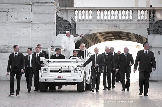 Pope Francis during his weekly general audience in St. Peter square at the Vatican, Wednesday.Marc 5, 2014.