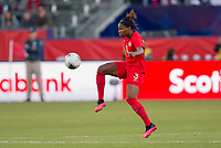 CARSON, CA - FEBRUARY 07: Kadeisha Buchanan #3 of Canada traps the ball during a game between Canada and Costa Rica at Dignity Health Sports Park on February 07, 2020 in Carson, California.