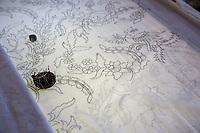 Yogyakarta, Java, Indonesia.  Design Sketch on Cloth Awaiting Application of Wax by the Batik Design Artist.