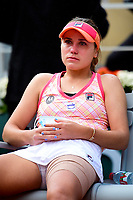 10th October 2020, Roland Garros, Paris, France; French Open tennis, Ladies singles final 2020;  Sofia Kenin usa  sits dejected after losing the finals match