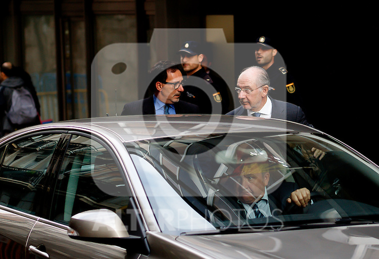 """Madrid,Spain - 16 10 2014- """"politics""""- scandal black cards Caja Madrid- Rodrigo Rato, former president of Bankia and <br /> International Monetary Fund arrives to testify at the national audience by reference to the scandal of the black cards(foto Guillermo Martinez/Bouza press)"""