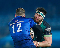 2nd January 2021; RDS Arena, Dublin, Leinster, Ireland; Guinness Pro 14 Rugby, Leinster versus Connacht; Rory O'Loughlin of Leinster tackles Tom Daly of Connacht
