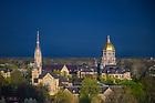 April 12, 2021; Campus skyline at sunrise (Photo by Matt Cashore/University of Notre Dame)