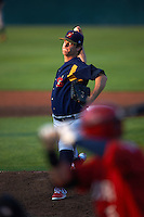 State College Spikes pitcher Carson Cross (43) delivers a pitch during a game against the Auburn Doubledays on July 6, 2015 at Falcon Park in Auburn, New York.  State College defeated Auburn 9-7.  (Mike Janes/Four Seam Images)
