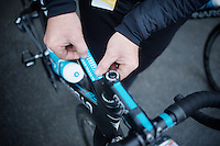 Hyper professional Team Sky print sky-blue route-planners on sticker paper at the exact size of the top tubes of their bikes<br /> <br /> 101th Liège-Bastogne-Liège 2015