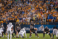 The Pitt offense led by quarterback Kenny Pickett (8) lines up against the Penn State defense. Also shown are Pitt center Jimmy Morrissey (67), guard Connor Dintino (76) and tackle Stefano Millen (70). The Penn State Nittany Lions defeated the Pitt Panthers 51-6 on September 08, 2018 at Heinz Field in Pittsburgh, Pennsylvania.