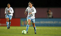 Chicago defender Natalie Spilger (13) alerts a teammate as she carries upfield.  Sky Blue defeated the Chicago Red Stars 1-0 in a mid-week game, Wednesday, June 17, at Yurcak Field.