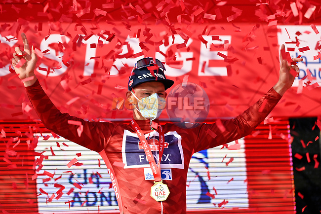 Mathieu van der Poel (NED) Alpecin-Fenix wins Stage 1 and wears the first leaders Red Jersey of the 2021 UAE Tour the ADNOC Stage running 176km from Al Dhafra Castle to Al Mirfa, Abu Dhabi, UAE. 21st February 2021.  <br /> Picture: LaPresse/Fabio Ferrari | Cyclefile<br /> <br /> All photos usage must carry mandatory copyright credit (© Cyclefile | LaPresse/Fabio Ferrari)