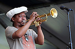 NEW ORLEANS, LA - MAY 06: Singer/musician Kermit Ruffins performs during the 2012 New Orleans Jazz & Heritage Festival at the Fair Grounds Race Course on May 6, 2012 in New Orleans, Louisiana
