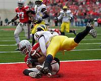 November 22, 2008. Ohio State wide receiver Brian Robiskie (80) makes an 8-yard touchdown reception despite the efforts of Michigan cornerback Donovan Warren. The Ohio State Buckeyes defeated the Michigan Wolverines 42-7 on November 22, 2008 at Ohio Stadium, Columbus, Ohio.