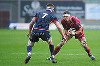 Aaron Shingler of Scarlets in action during the Guinness Pro14 Round 11 match between the Scarlets and Edinburgh Rugby at the Parc Y Scarlets in Llanelli, Wales, UK. Saturday 15 February 2020