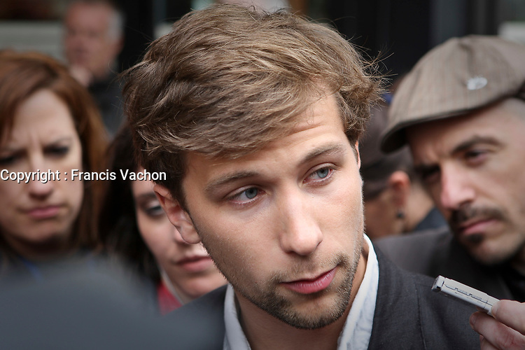 CLASSE spokesperson Gabriel Nadeau Dubois speaks  to the media before a meeting with Quebec education Minister Michelle Courchesne in Quebec City Tuesday May 29, 2012. The students and the Quebec government meet for the second day in a row to try to solve a strike over tuition fee that goes for more than 100 days.<br /> <br /> PHOTO :  Francis Vachon - Agence Quebec Presse