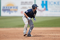 Ethan Hearn (6) of the Myrtle Beach Pelicans takes his lead off of second base against the Lynchburg Hillcats at Bank of the James Stadium on May 23, 2021 in Lynchburg, Virginia. (Brian Westerholt/Four Seam Images)