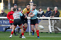 Louis Molloy of Richmond Rugby and Ben Ransom of Blackheath Rugby during the English National League match between Richmond and Blackheath  at Richmond Athletic Ground, Richmond, United Kingdom on 4 January 2020. Photo by Carlton Myrie.