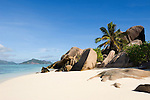 Seychelles, Island La Digue, Anse Source d'Argent: famous beach with granite rocks - popular with filmmakers<br />