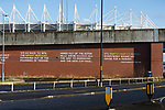 Quotes from former Middlesbrough local radio commentator Alistair Brownlee, reproduced on a bridge near the Riverside Stadium.  The quotes are from April 2006, when Middlesbrough came from 0-3 down to beat Steaua Bucharest 4-3 in the second leg of the UEFA Cup Semi final at the Riverside stadium. 16th January 2021, Middlesbrough 0 Birmingham 1, for WSC.