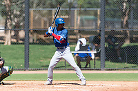 Los Angeles Dodgers outfielder Brayan Rodriguez (99) at bat during an Instructional League game against the Oakland Athletics at Camelback Ranch on September 27, 2018 in Glendale, Arizona. (Zachary Lucy/Four Seam Images)
