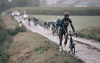 Fernando Gaviria (COL/UAE-Emirates) sidelined with a mechanical<br /> <br /> 118th Paris-Roubaix 2021 (1.UWT)<br /> One day race from Compiègne to Roubaix (FRA) (257.7km)<br /> <br /> ©kramon