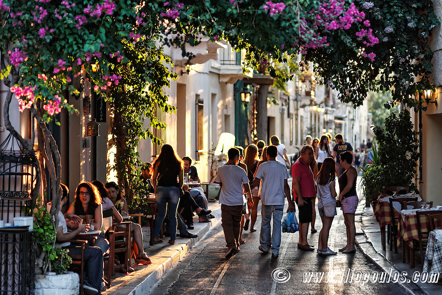 The crowded streets of Plaka in Athens, Greece